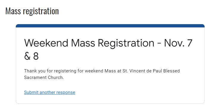 Online registration response